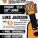 Folk Award double nominee Luke Jackson with Phil Chisnall and Luke Cusato this Friday
