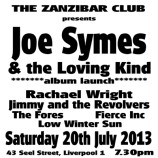 Joe Symes & the Loving Kind album launch – Saturday 20th July 2013