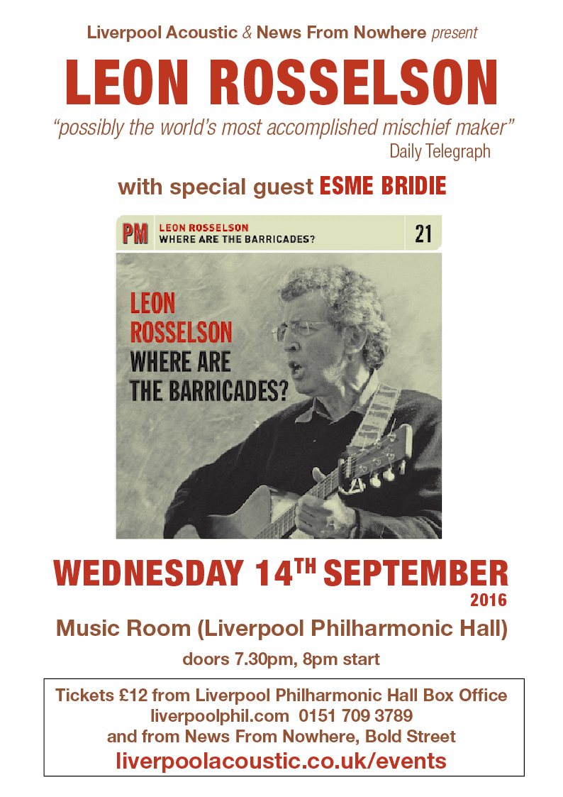 Preview: Leon Rosselson @ Music Room - 14th September 2016