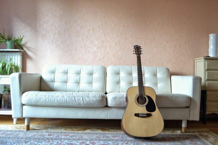 guitar in living room