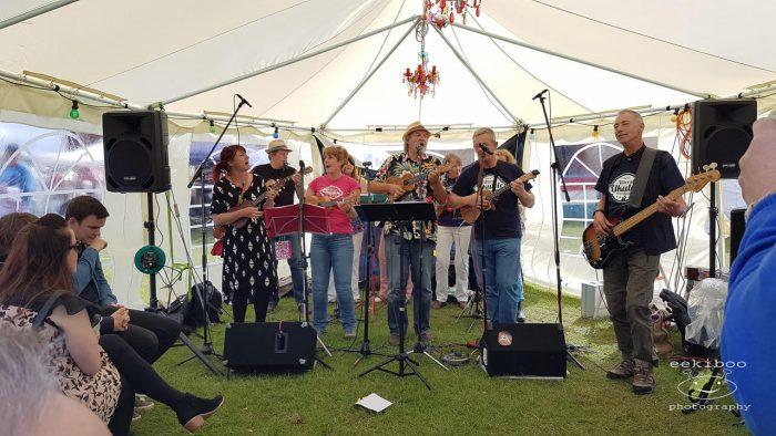 ukulele festival inside tent