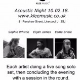 Preview: Klee Music Acoustic Nights start this Saturday 10th February 2018