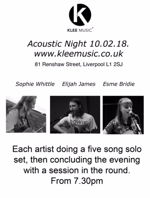 klee music acoustic night 10th february 2018