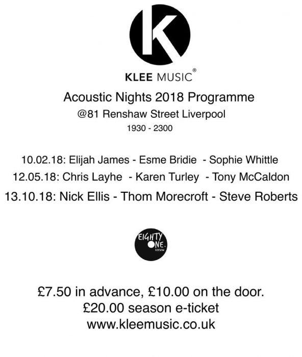 klee music acoustic nights 2018 programme